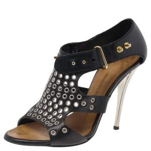 Giuseppe Zanotti Black Leather Eyelet Ankle Strap Sandals Size 36