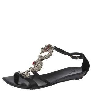 Giuseppe Zanotti Black Satin Crystal Embellished Dragon Ankle Strap Flat Sandals Size 36