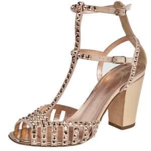 Giuseppe Zanotti Beige Suede Crystal Embellished Ankle Strap Sandals Size 37