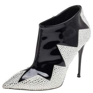 Giuseppe Zanotti Black Patent Leather And Suede Crystal Zig Zag Patterned Booties Size 39
