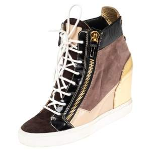 Giuseppe Zanotti Multicolor Leather and Suede High Top Wedge Sneakers Size 39