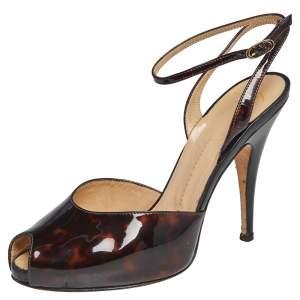 Giuseppe Zanotti Brown Tortoise Patent Leather Mixed Media Peep Toe Sandals Size 37