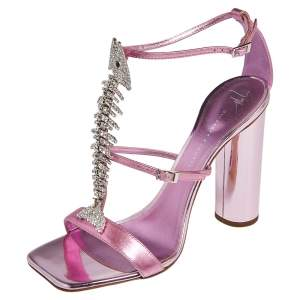 Giuseppe Zanotti Pink Leather Fishbone Embellished Ankle Strap Sandals Size 39