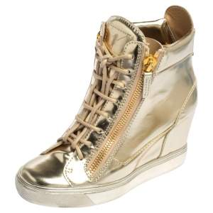 Giuseppe Zanotti  Rose Gold Leather High Top Wedge Sneakers 37