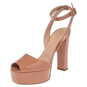 Giuseppe Zanotti Beige Patent  Leather Lavinia Platform Ankle Strap Sandals Size 40