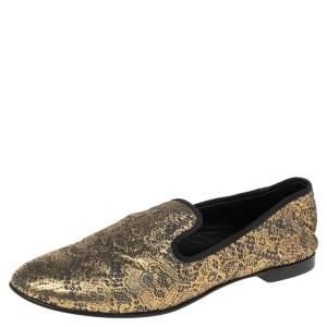 Giuseppe Zanotti Gold/Black Lace Print Suede Smoking Slipper Size 36.5
