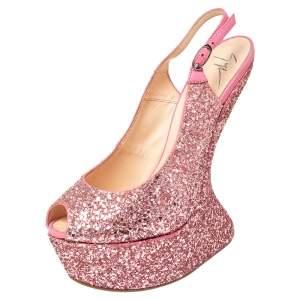 Giuseppe Zanotti Pink Glitter Heelless Slingback Peep Toe Platform Pumps Size 39.5