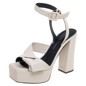 Giuseppe Zanotti Off White Leather Knotted Platform Ankle Strap Sandals Size 36
