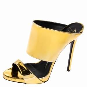 Giuseppe Zanotti Metallic Gold Leather Andrea Open Toe Sandals Size 37.5