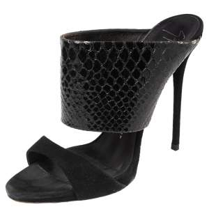 Giuseppe Zanotti Black Python Embossed Leather and Suede Beverly Open Toe Sandals Size 40