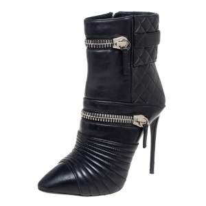 Giuseppe Zanotti Black Quilted Leather Olinda Zipper Detail Ankle Boots Size 39