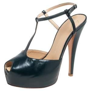 Giuseppe Zanotti Green Leather T-Strap Platform Peep Toe Sandals Size 37