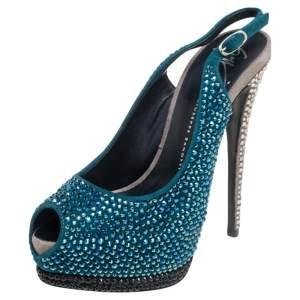 Giuseppe Zanotti Tri Color Suede Crystal Embellished Peep Toe Platform Slingback Sandals Size 37