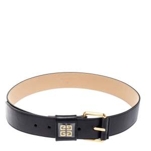 Givenchy Black Leather Buckle Belt 82CM