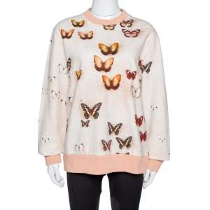 Givenchy Peach Butterfly Print Cotton Crew Neck Jumper M