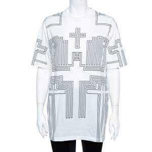Givenchy White Cotton Jersey Geometric Cross Print T-Shirt S