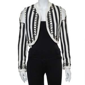 Givenchy Monochrome Denim Cutout Sleeve Lace Tie Detail Cropped Jacket M