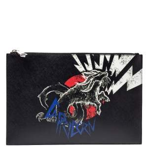 Givenchy Black Leather Capricorn Horoscope Pouch