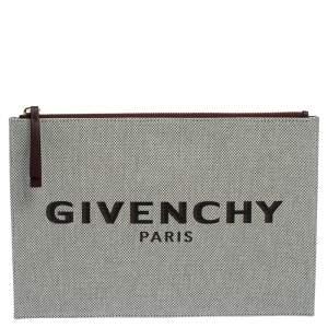 Givenchy Beige Canvas Bond Pouch Clutch