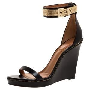 Givenchy Black Leather Zipper Trim Platform Ankle Strap Wedge Sandals Size 40