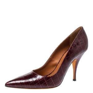 Givenchy Burgundy Croc Embossed Leather Pointed Toe Pumps Size 40