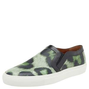 Givenchy Two Tone Jaguar Print Leather Skate Slip-On Sneakers Size 40