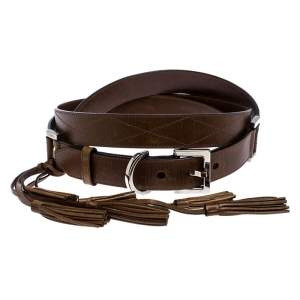 Givenchy Brown Leather Tassel Double Wrap Buckle Belt 195CM