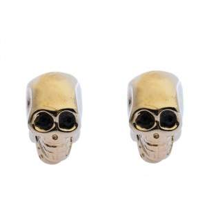 Givenchy Double Sided Skull Crystal Gold Tone Magnetic Earrings