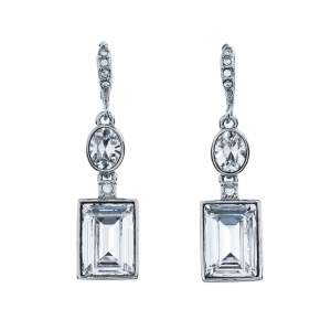Givenchy Silver Tone Crystal Drop Earrings