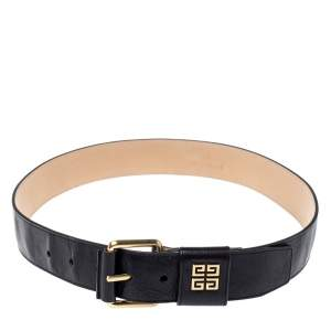 Givenchy Black Crinkled Leather Belt 80CM