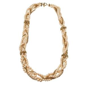 Givenchy Faux Pearl Gold Tone Multistrand Chain Toggle  Necklace