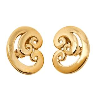 Givenchy Vintage Gold Tone Swirl Clip On Stud Earings