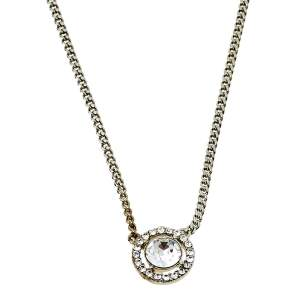 Givenchy Silver Tone Crystal Pendant Chain Necklace
