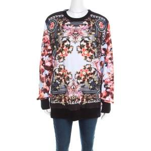 Givenchy Multicolor Roses and Birds of Paradise Cotton Knit Sweatshirt XS