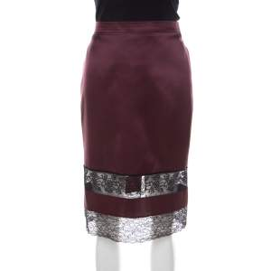 Givenchy Wine Satin Silk Lace Paneled Pencil Skirt M
