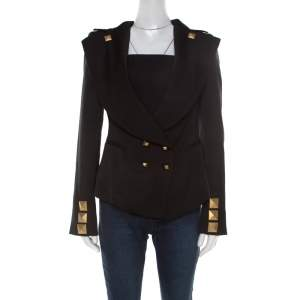 Givenchy Black Studded Wool Oversized Lapel Detail Jacket M