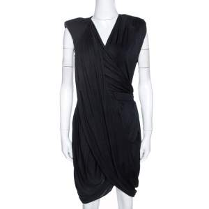 Givenchy Black Jersey Padded Shoulder Detail Draped Dress M