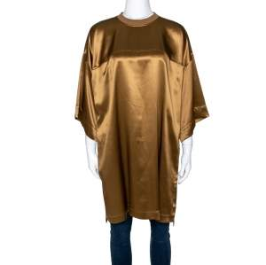 Givenchy Brown Silk Satin Crew Neck Tunic M