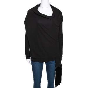 Givenchy Monochrome Crepe Fringed Shawl Detail Top M