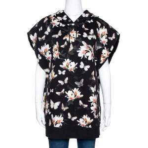 Givenchy Black Floral Moth Print Cotton Sleeveless Hoodie M