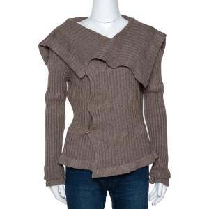 Givenchy Brown Chunky Rib Knit Asymmetrical Cardigan M