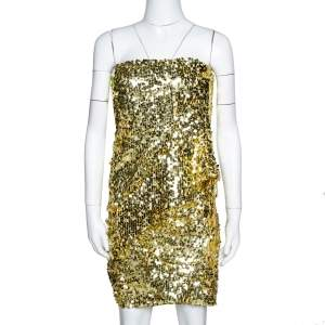Givenchy Gold Sequined Strapless Bustier Dress S