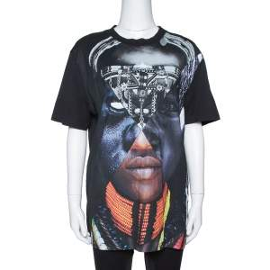 Givenchy Black Cotton Patchwork Portrait Print Crew Neck T Shirt S