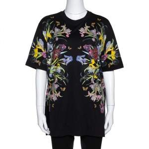 Givenchy Black Floral Print Cotton Crew Neck T-Shirt S