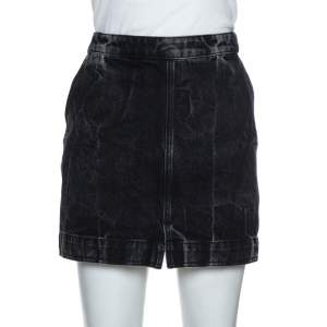 Givenchy Black Acid Washed Denim Mini Skirt M