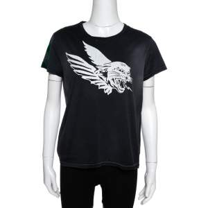 Givenchy Dark Grey Flying Cat Print Cotton Distressed T- Shirt L