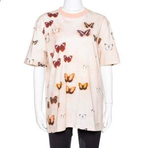 Givenchy Peach Butterfly Print Cotton Crew Neck T-Shirt M