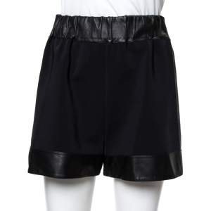 Givenchy Black Leather & Jersey Elasticized Waist Shorts M