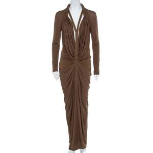 Givenchy Brown Silk Jersey Draped Harness Maxi Dress M
