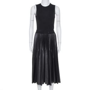 Givenchy Black Knit & Plisse Sleeveless Midi Dress S